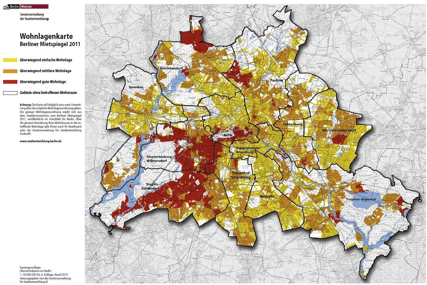 Wohnlagenkarte - Berliner Mietspiegel 2011