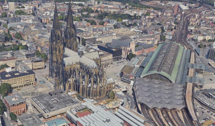 Köln: Dom und Hbf in 3D in Google Maps